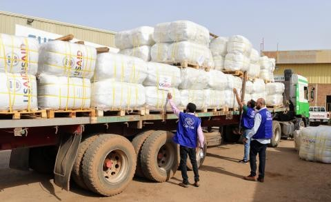 Arrival of USAID airlift of flood relief supplies in Khartoum Photo: IOM SUDAN/Lisa George